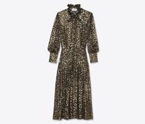 Langes Kleid mit Lavallière-Ausschnitt aus Satinett mit Metallic-Leoparden-Muster Black