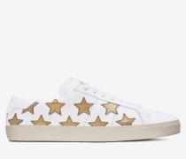 klassischer signature court sl/06 california sneaker aus gebrochen weißem leder und dunkel goldfarbenem metallic-leder