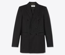 Zweireihige Jacke In Übergröße aus Twill mit Kreidestreifen Schwarz