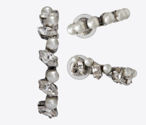 3er-set smoking perle ohrringe aus silberfarbenem messing