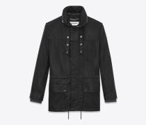 Parka aus schwarzer Baumwolle mit gewachstem Finish und verstaubarer Kapuze