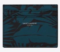 Karten-Etui aus Leder mit Tropischem Print Grain-De-Poudre-Prägung Schwarz