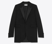 Single-Breasted Tuxedo Jacket In Grain De Poudre Saint Laurent Schwarz