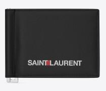 portemonnaie mit geldscheinclip in schwarz mit saint laurent-signaturprint