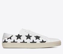 signature court classic sl/06 california sneaker in optic white, black and silver leather