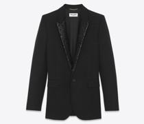 Einreihige Jacke aus Saint Laurent Grain De Poudre mit Pailletten Schwarz