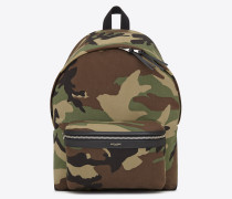 classic city backpack in khaki cotton gabardine camouflage and black leather