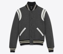 Klassische Teddy-Jacke aus grauer Wolle
