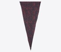 großer, diamantförmiger schal aus rotem und schwarzem etamin mit leopardenprint