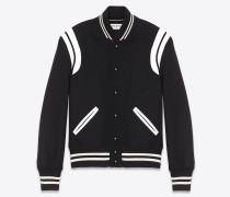 klassische teddy-jacke aus schwarzer wolle und elfenbeinfarbenem leder