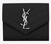 Kompaktes, Dreifaches Saint Laurent Portemonnaie aus Schwarzem Matelassé-Leder mit Struktur Schwarz