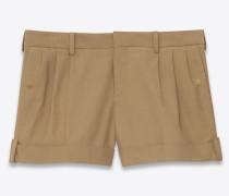 shorts aus beigem baumwollstretch