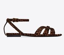 Tribute Flache Sandalen aus Leder mit Leoparden-Print Pony-Effekt Beige