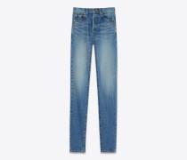 slim-fit-jeans mit mittlerer leibhöhe aus blauem vintage-denim