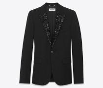 legendäres einreihiges le smoking-jackett aus schwarzer bioschurwolle mit grain-de-poudre-struktur und mikropailletten