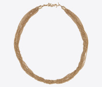 LOULOU anliegende Halskette mit verdrehten Ketten aus hellgoldfarbenem Messing