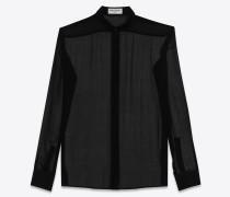 schwarzes signature hemd mit yves-kragen