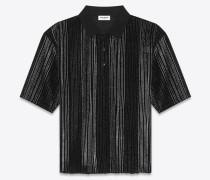 Gestreiftes, kastenförmiges Poloshirt aus schwarzem Velours und silberfarbenem Glitzer