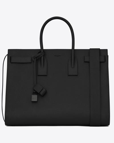 große sac de jour-tasche mit großem fassungsvermögen aus schwarzem strukturiertes leder