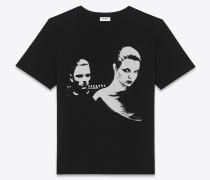 T-Shirt in Schwarz-weiß mit Paarprint