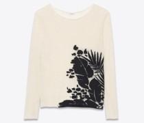 Halbtransparenter Pullover aus Tropischem Jacquard Weiß
