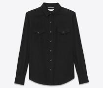 klassisches westernhemd aus schwarzem twill