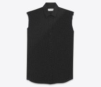 ärmellose signature bluse mit schwarzen tupfen und yves-kragen