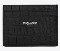 Saint Laurent Kartenetui aus Schwarzem Leder mit Krokodilprägung Schwarz