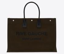 Rive Gauche Große Tote Bag aus Bedrucktem Canvas Leder Grün