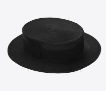 geflochtener canotier-strohhut mit schwarzem band