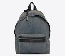 City Mini-Rucksack aus Gebleichtem Denim Blau