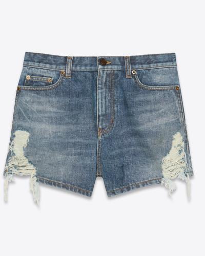 Baggy-Shorts aus sandgewaschenem blauem Denim mit abgenutzter Optik