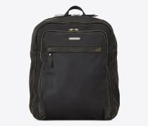 BIKER Rucksack aus abgenutztem, schwarzem Leder
