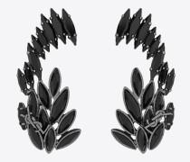 Ohrmanschetten aus Metall und schwarzem Kristall