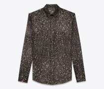 Bluse aus schwarzem, goldfarbenem und silberfarbenem Seidencrêpe mit Meteoritenprint