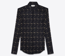 klassische bluse aus schwarzer seide mit goldfarbenen diamantmotiven