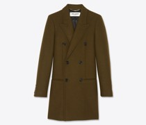Zweireihiger Mantel aus Wollgabardine Grün