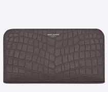 classic saint laurent paris zip around wallet in drak anthracite crocodile embossed leather