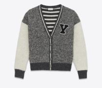 Grau melierte und gebrochen weiße College-Jacke aus Wolle mit Y-Patch