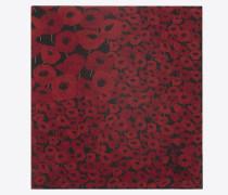 großer, quadratischer schal aus schwarzem und rotem etamin mit mohnprint