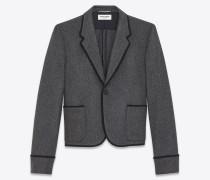 Einreiher-Club-Jacke aus anthrazitgrauem Schurwollflanell