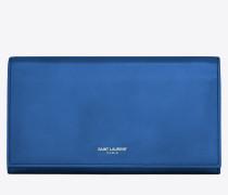 klassisches großes saint laurent paris portemonnaie mit überschlag aus königsblauem leder
