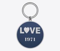"""""""love 1971"""" schlüsselring aus nickelfarbenem metall und blauem email"""