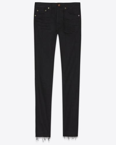 Skinny-Jeans aus schwarzem Stretchdenim mit abgenutzter Optik