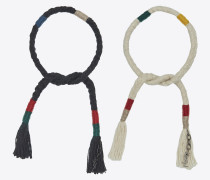 set of plaited and knotted marrakech bracelets in multicolored cotton and black metal