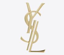 Monogram dekonstruierte Brosche aus goldfarbenem Messing
