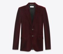 Klassisches Einreiher-Jackett aus burgunderrotem Samt