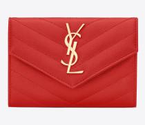 kleines monogram umschlag-portemonnaie aus rotem matelassé-leder mit grain de poudre struktur