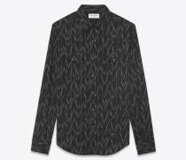 Westernhemd aus Baumwolle und Leinen mit Jacquard-Pixelprint