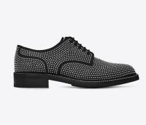 WILLIAM 25 Derby-Schuh aus schwarzem Leder mit silberfarbenem Metallverzierung